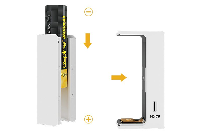 Aspire EVO75 Starter Kit Battery Compartment