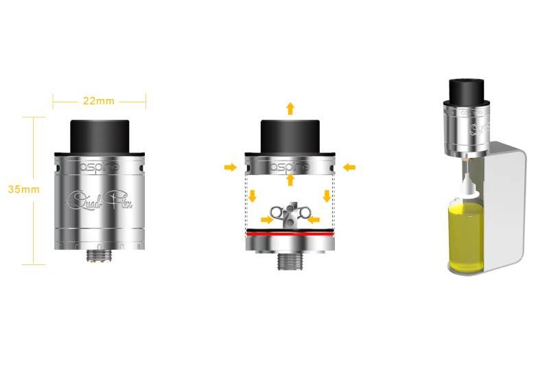 Aspire Quad-Flex RDTA squonker mode illustrated