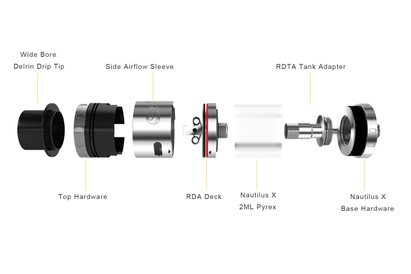 Aspire Quad-Flex RDTA tank disassembled