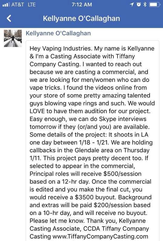 fb message for a cast